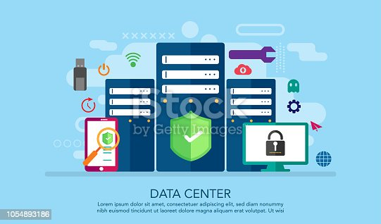 Data center, Web servers, service, internet connection, cloud servers with security icons flat. Suitable For Banner, Background, Book Illustration. Presentation, Landing Page, Web Banner, and Other Related. Vector Illustration template.