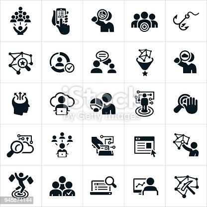 A set of icons symbolizing big data and the collection and analyzing of that data that companies use for pinpoint advertising. The icons show data, social media, data collection, data analysis, advertising and other technological symbols associated with the collection and use of personal data for targeted marketing efforts.