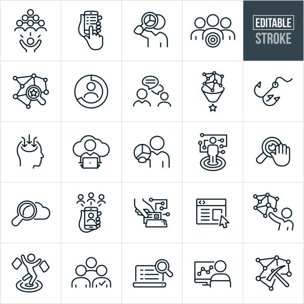 Data Collection Thin Line Icons - Editable Stroke A set of data collection icons. The icons have editable strokes or outlines when using the vector file format. The icons include business people analyzing data, business person collecting data, web search, target market, network, customers, online chat, customer behavior, person shopping, data collection, cloud computing, businessman holding pie chart, web security, social network, web page, information capture, data mining, statistics and other related icons. conceptual symbol stock illustrations
