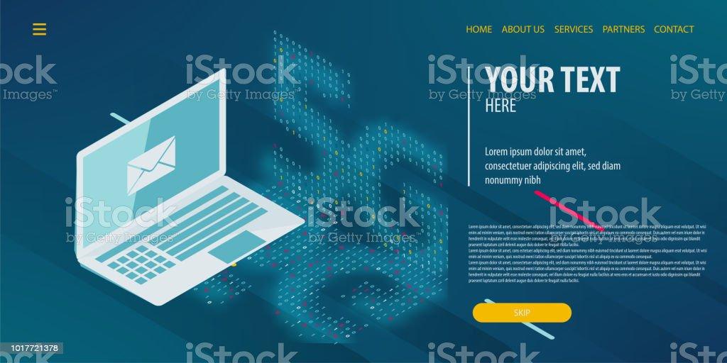 Data connection isometric technology vector art illustration