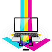 istock Data Down Streaming -  Laptop PC, Tablet PC and SmartPhone 1207862188