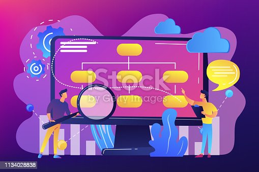 Tiny people analyst and data scientist working with data. Data driven business model, comprehensive data strategies, new economic model concept. Bright vibrant violet vector isolated illustration