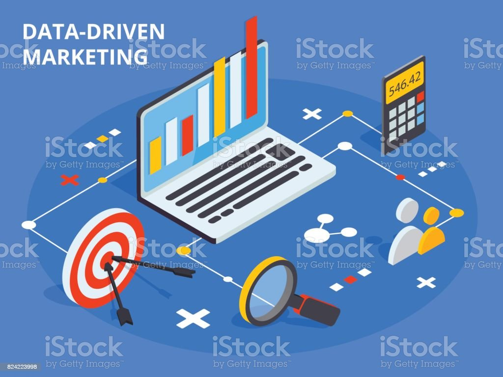 Data driven marketing concept in isometric design. Business grow vector art illustration
