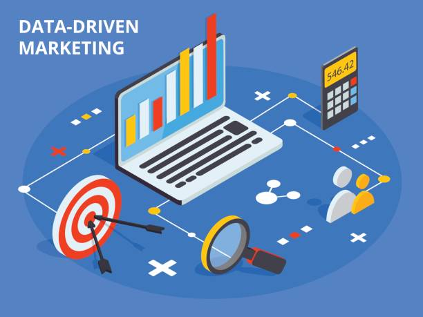 Data driven marketing concept in isometric design. Business grow vector art illustration