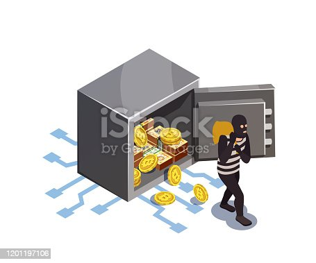 Data encryption cyber security isometric composition with electronic safe box burglary and human character of thief vector illustration