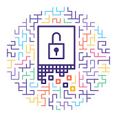 Line vector icon illustration of data encryption with maze background.