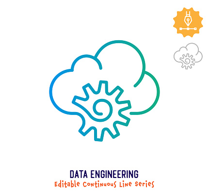 Data Engineering Continuous Line Editable Stroke Icon
