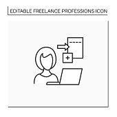 istock Data entry jobs line icon 1329893590
