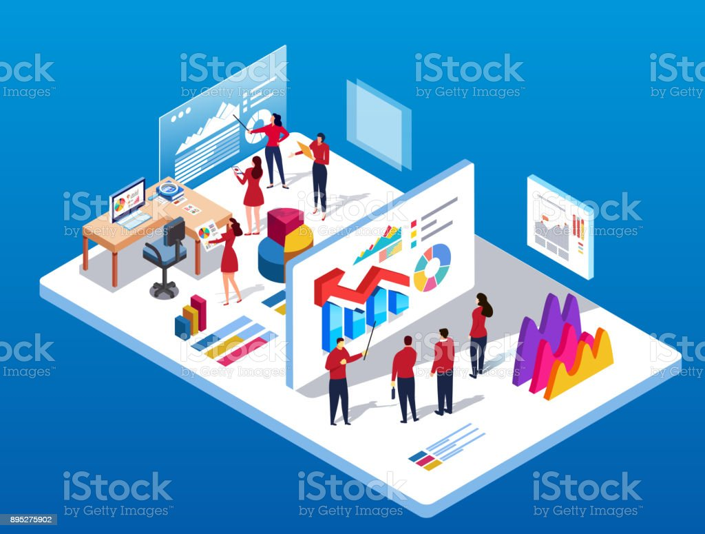 Data exchange and training vector art illustration