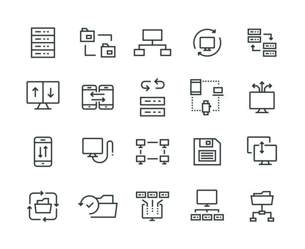 Data Exchange Icon Set Data Exchange Icon Set transfer image stock illustrations