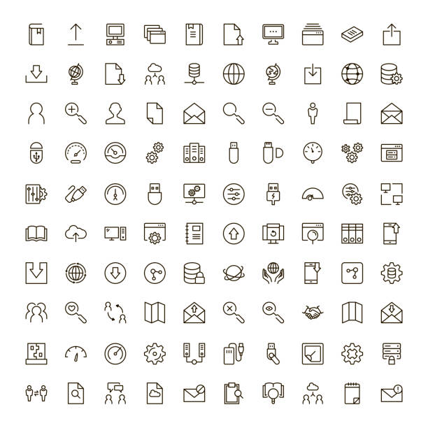 veri değişimi icon set - app stock illustrations