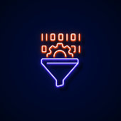 Data Filtering Icon Neon Style, Design Elements