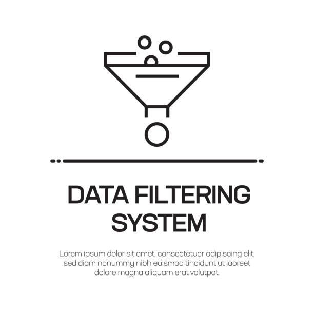 Data Filtering System Vector Line Icon - Simple Thin Line Icon, Premium Quality Design Element Data Filtering System Vector Line Icon - Simple Thin Line Icon, Premium Quality Design Element lighting technique stock illustrations