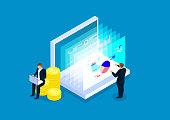 Data finance, two businessmen analyze financial web page data