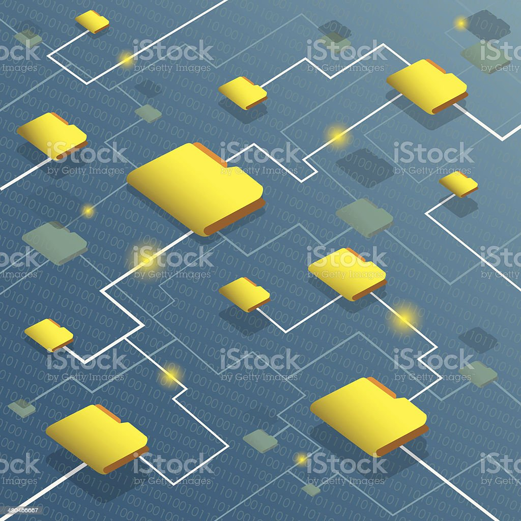 Data flow system with binary code background royalty-free stock vector art
