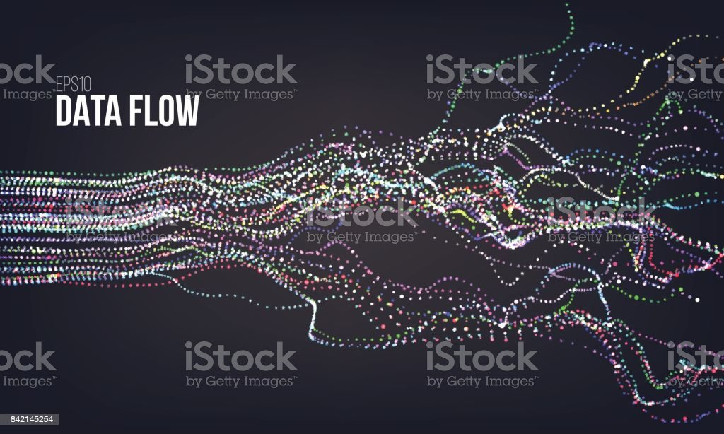 Data flow vector illustration. Digital information noise stream. Blockchain structure calculation vector art illustration