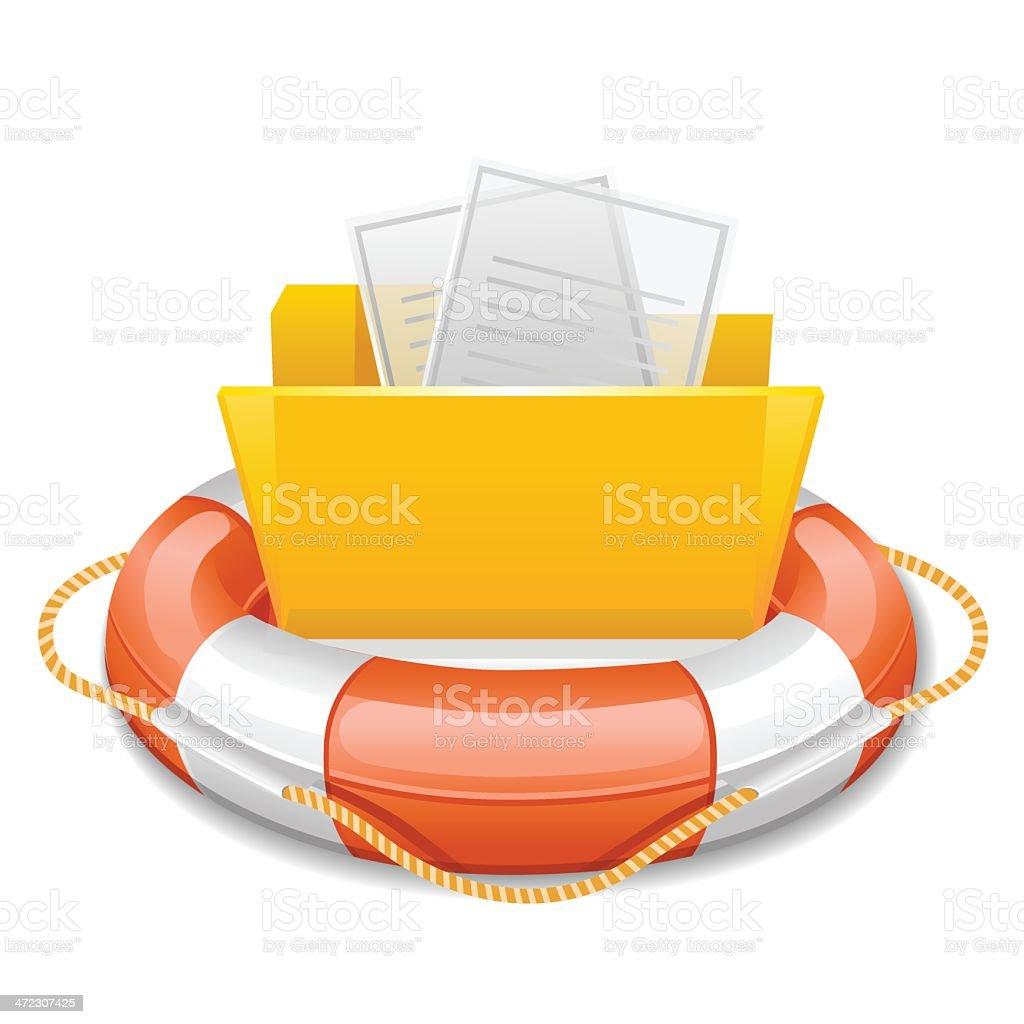 Data folder in life buoy vector art illustration