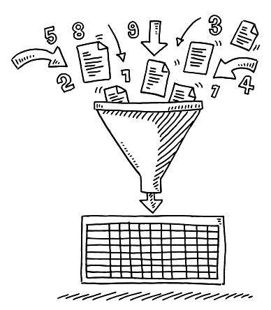 Data Funnel Sorting Spreadsheet Drawing