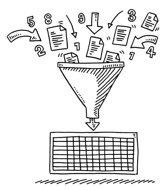 Data Funnel Sorting Spreadsheet Drawing Hand-drawn vector drawing of a Data Funnel Sorting Spreadsheet. Black-and-White sketch on a transparent background (.eps-file). Included files are EPS (v10) and Hi-Res JPG. business stock illustrations
