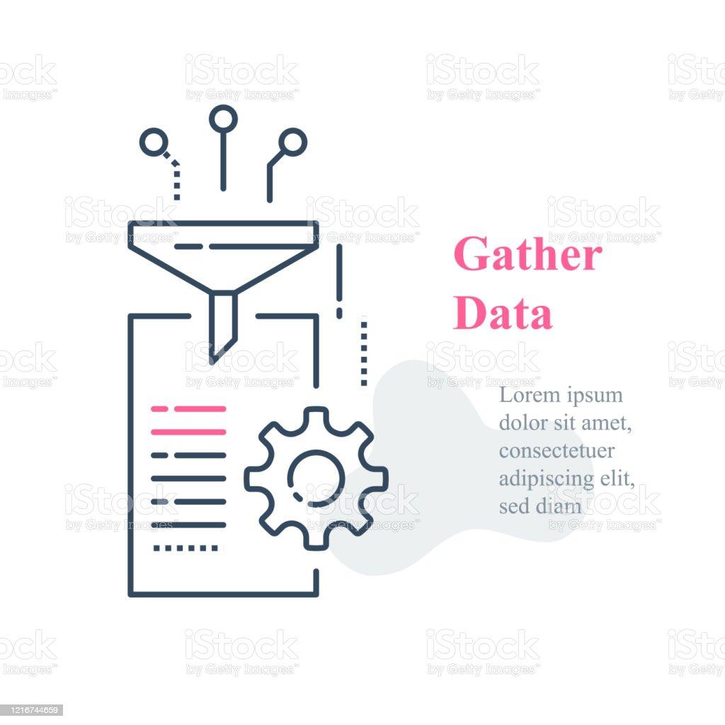 Datainsamling och databehandlingskoncept, insamling och filterinformation - Royaltyfri Analysera vektorgrafik
