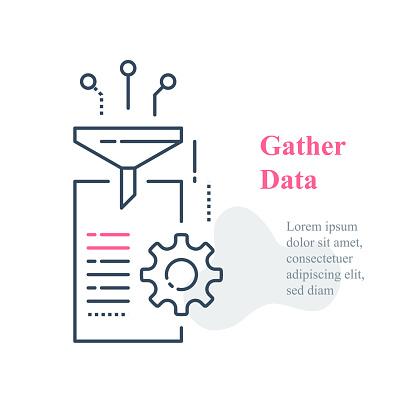 Datainsamling Och Databehandlingskoncept Insamling Och Filterinformation-vektorgrafik och fler bilder på Analysera