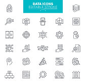 Data Processing - thin line vector icon set. Editable stroke. Set contains such icons as Data, Infographic, Big Data, Cloud Computing, Machine Learning, Security System, Charts, Brainstorming.