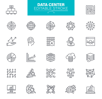 Data Center line vector icon set. Editable stroke. Set contains such icons as Data, Infographic, Big Data, Cloud Computing, Machine Learning, Security System, Charts, Internet of Things, Brainstorming, Processing