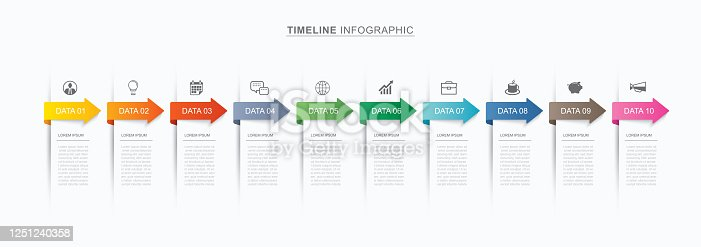 10 data infographics tab paper index and arrow template. Vector illustration abstract background. Can be used for workflow layout, business step, banner, web design.