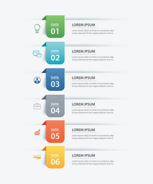 6 資料資訊圖表選項卡紙索引範本。向量插圖抽象背景。可用於工作流佈局、業務步驟、橫幅、網頁設計。 - 垂直構圖 幅插畫檔、美工圖案、卡通及圖標