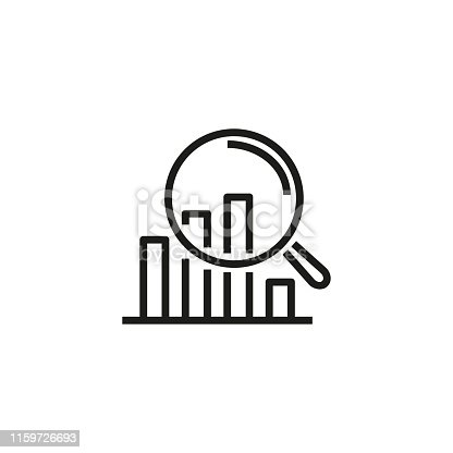 Data inspection line icon. Diagram, magnifying glass, examination. Data science concept. Vector illustration can be used for topics like information technology, data protection, computer usage