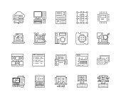 Data line icons, linear signs, vector set, outline concept illustration
