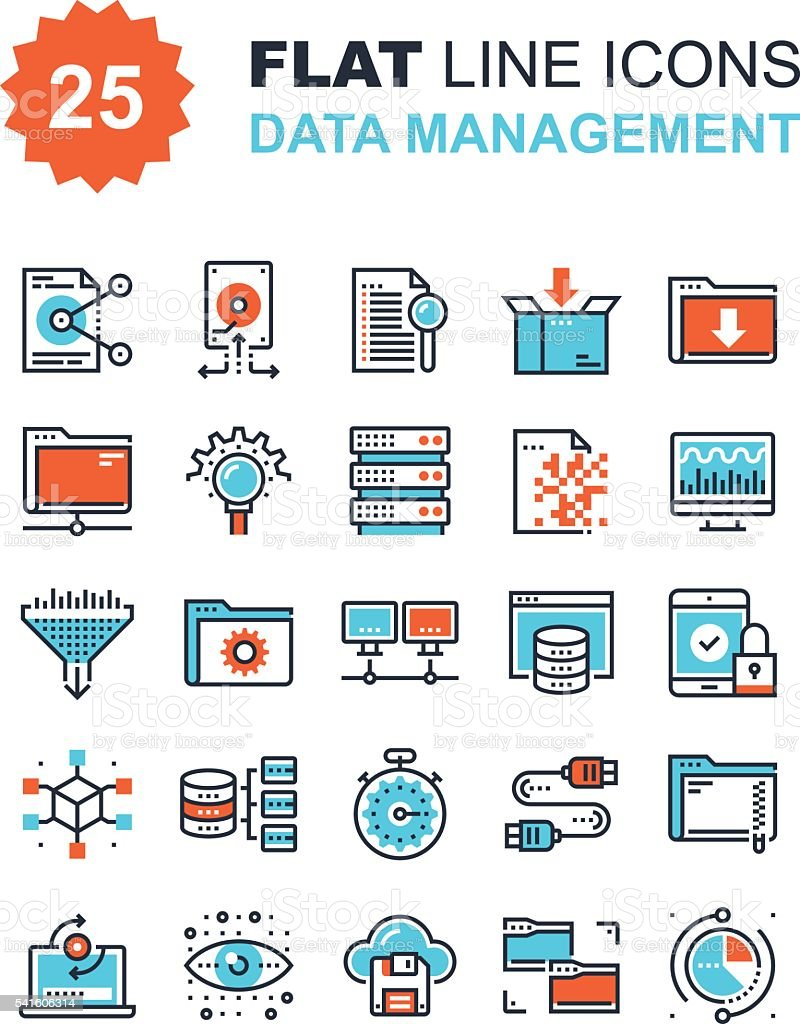 Data Management Icons vector art illustration