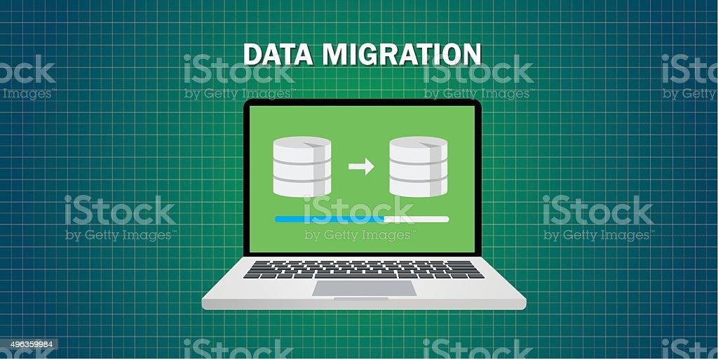 data migration in computer vector art illustration