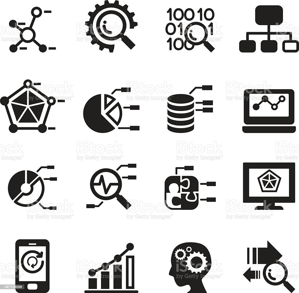Data mining, Database, Data analysis icons set vector art illustration
