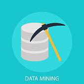 Data mining flat icon.