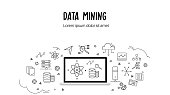 Flat icons of data mining, artificial intelligence, strategy management, database, data center, evaluate, modeling, identify. Beauty technology and database related doodle background.