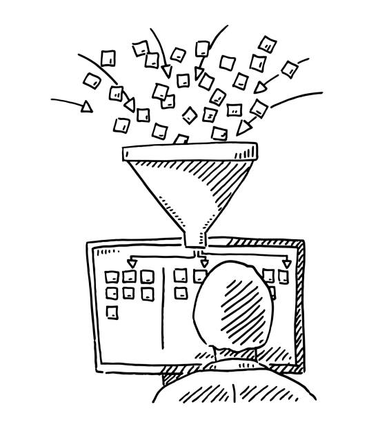 Data Mining Structure Computer Workplace Concept Drawing Hand-drawn vector drawing of a Human Figure Holding a Funnel, Data Analysis Concept. Black-and-White sketch on a transparent background (.eps-file). Included files are EPS (v10) and Hi-Res JPG. business stock illustrations