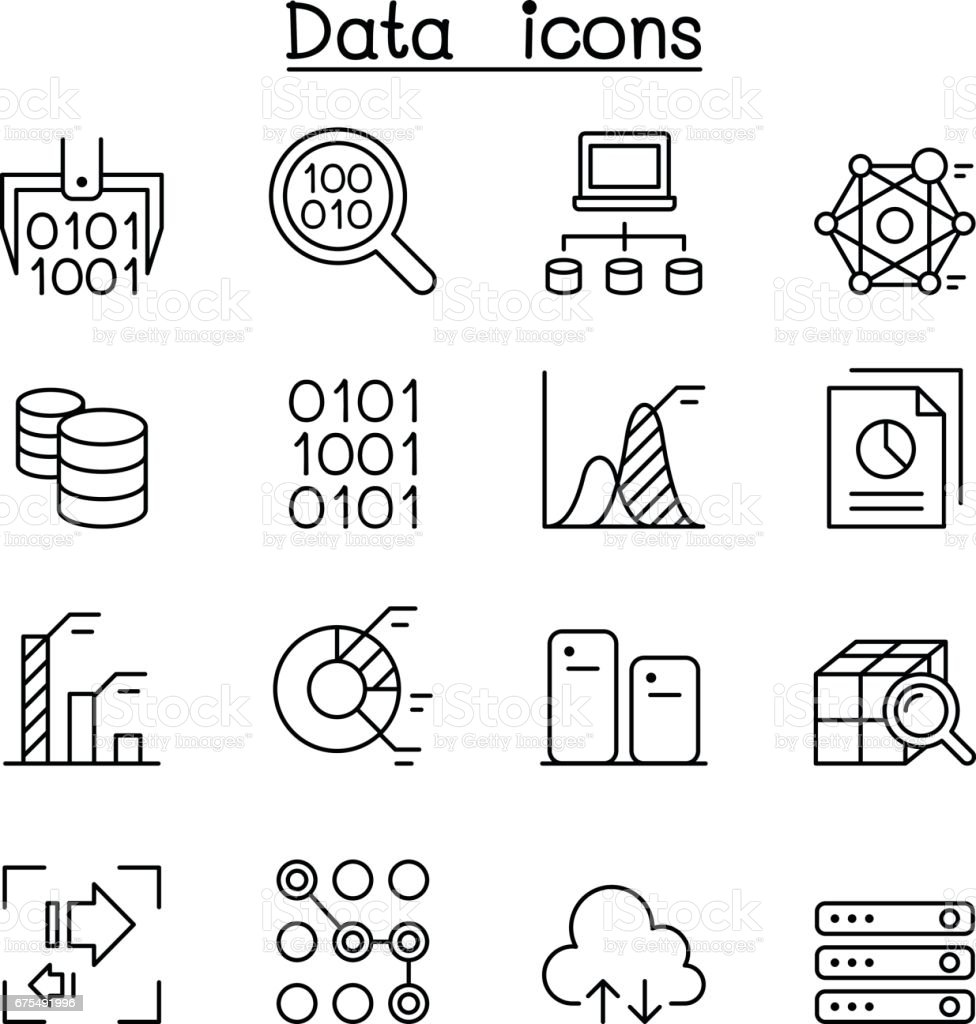 data mining technology data transfer data warehouse big data icon set in thin line style stock
