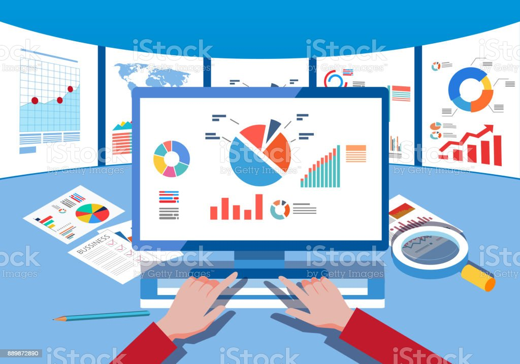 Data monitoring and analysis vector art illustration