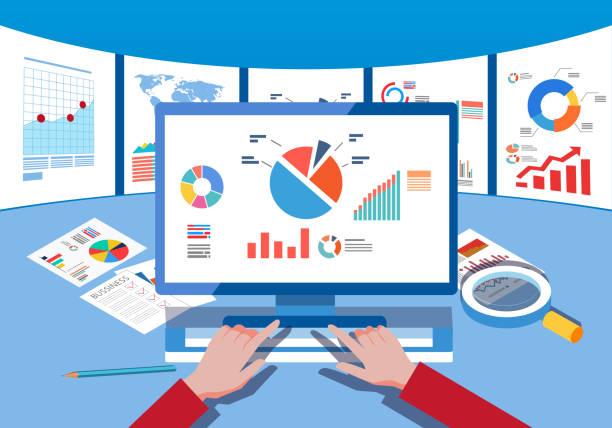 Data monitoring and analysis - illustrazione arte vettoriale
