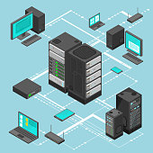 Data network management vector isometric map with business networking servers, computers and device