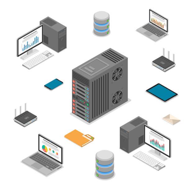 stockillustraties, clipart, cartoons en iconen met data network technologie isometrisch - netwerkserver
