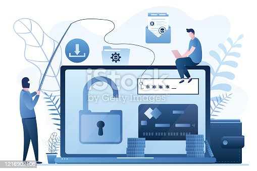 Data phishing concept background. Online scam, malware and password phishing. User with laptop and hacker in mask attack computer and steals information. Financial Security Problem. Vector illustration