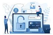 istock Data phishing concept background. Online scam, malware and password phishing. 1216902106