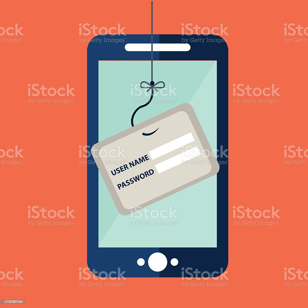 Data Phishing, credit or debit card on fishing hook vector art illustration
