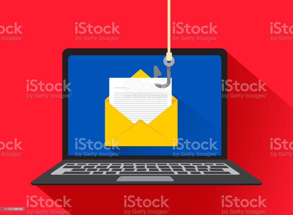 Phishing dei dati, hacking truffa online sul concetto di laptop del computer. Pesca via e-mail, busta e gancio da pesca. Illustrazione vettoriale - arte vettoriale royalty-free di Affari