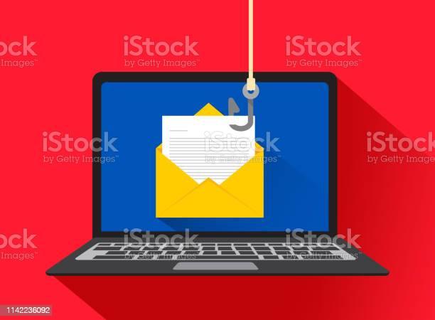 Phishing Dei Dati Hacking Truffa Online Sul Concetto Di Laptop Del Computer Pesca Via Email Busta E Gancio Da Pesca Illustrazione Vettoriale - Immagini vettoriali stock e altre immagini di Affari