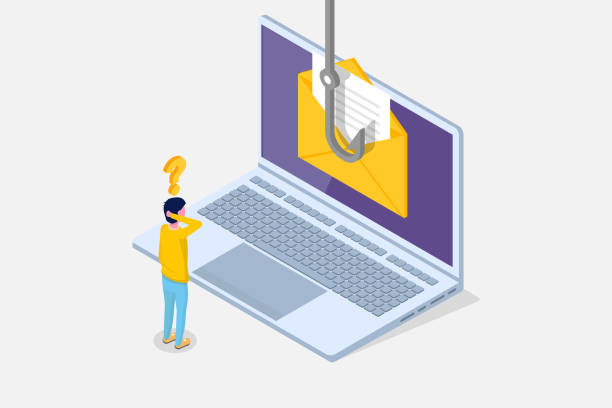 illustrazioni stock, clip art, cartoni animati e icone di tendenza di data phishing isometric, hacking online scam on laptop concept. fishing by email, envelope and fishing hook. cyber thief. vector illustration. - phishing