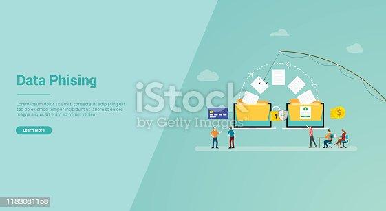 data phising for website template or landing homepage banner - vector illustration
