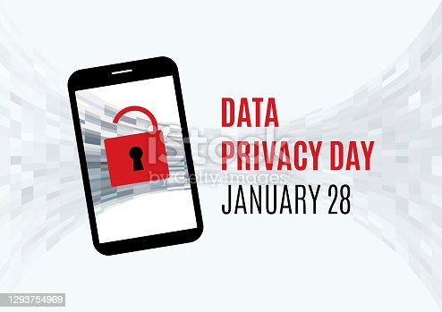 Protected mobile phone vector. Phone with red lock icon. Data Privacy Day Poster, January 28. Important day